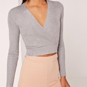 Missguided Long Sleeve Wrap Over Ribbed Crop Top